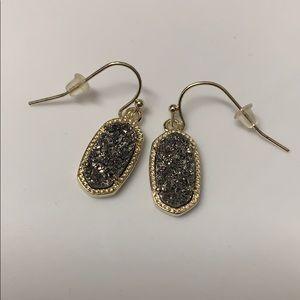 Kendra Scott Drop Earrings | Gold & Grey Glitter